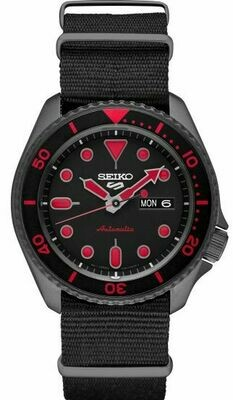 Reloj automático hombre Seiko 5 Sports SRPD83K1 dial negro 42.5mm correa tela 100m water resist