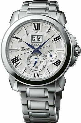 Reloj Automático hombre Seiko Premier Kinetic SNP139P1 Perpetual calendar correa acero cristal zafiro 43mm dial