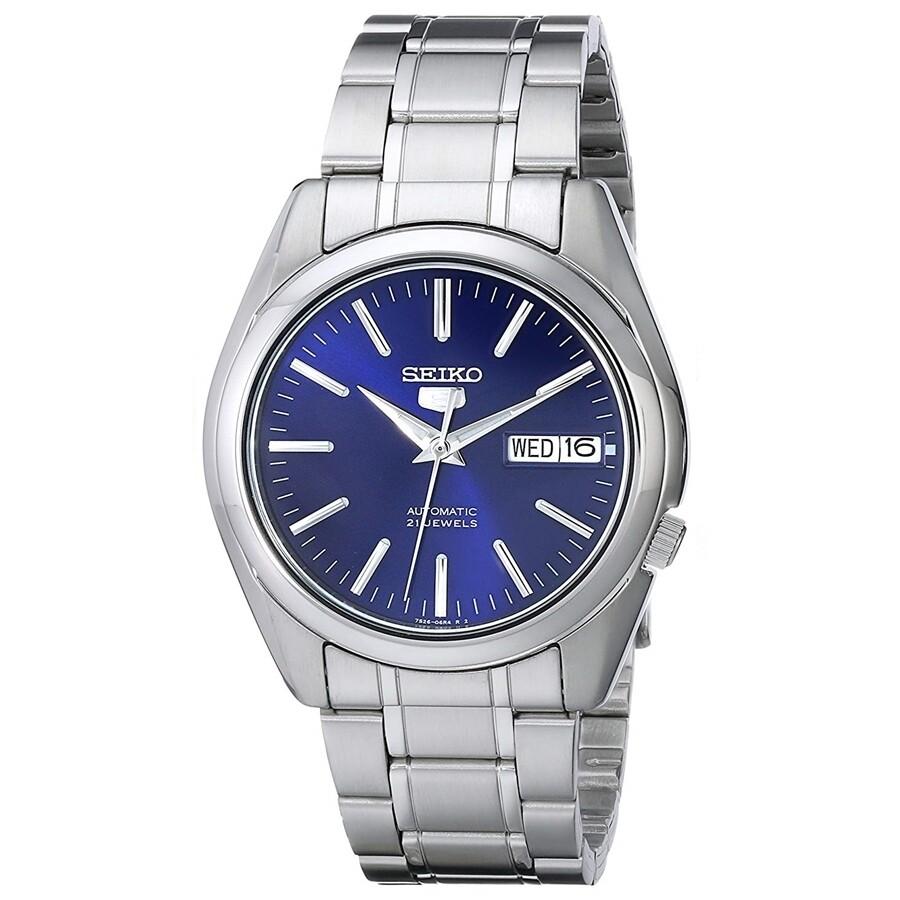 Reloj Automático hombre Seiko 5 SNKL43K1 Dial azul 37mm correa acero