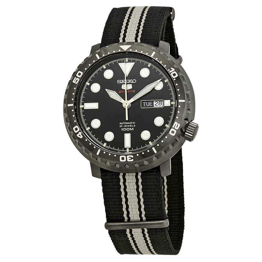 Reloj Automático hombre Seiko 5 Sports Divers Bottle Cap SRPC67K1 dial negro 45mm correa tela 100m water resist