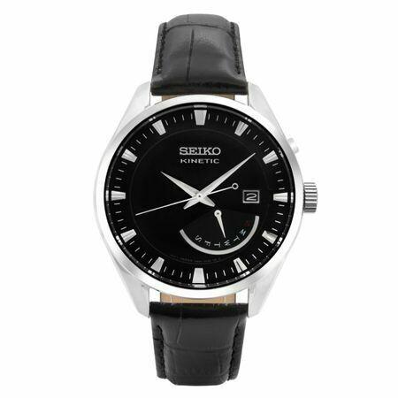 Reloj Automático hombre Seiko Kinetic SRN045P2 dial negro 43mm correa cuero 100m water resist
