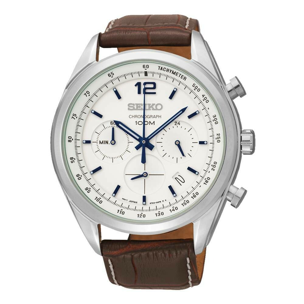 Reloj hombre deportivo Seiko Neosports SSB095P1 Taquímetro Cronógrafo dial blanco 42mm correa cuero 100m water resist