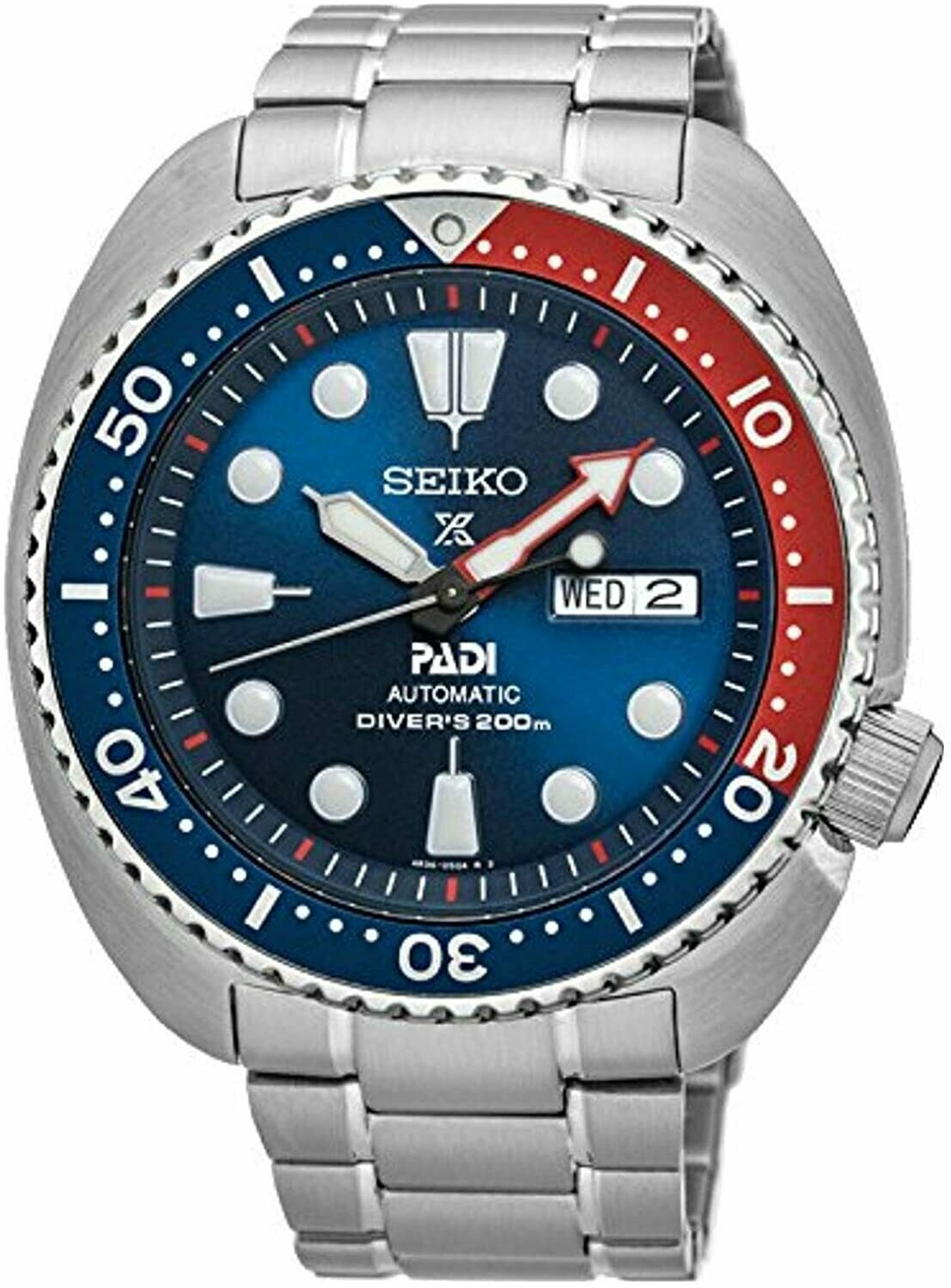 Reloj Automático hombre Seiko Prospex SRPA21K1 Turtle PADI dial azul 45mm correa acero 200m water resist