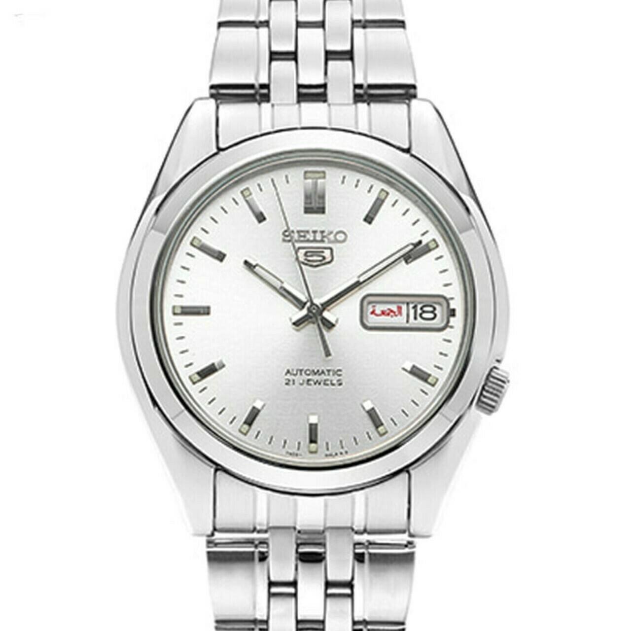 Reloj Automático hombre Seiko 5 SNK355K1 dial plata 37mm correa acero