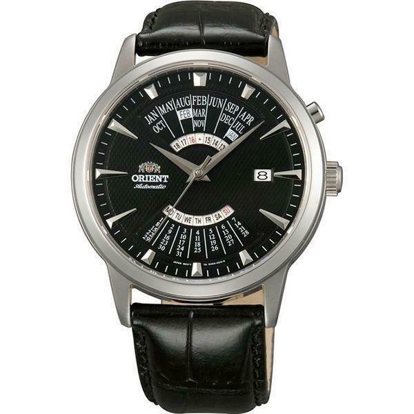 Reloj Automático Hombre Orient Multi-Year FEU0A004B dial negro correa cuero