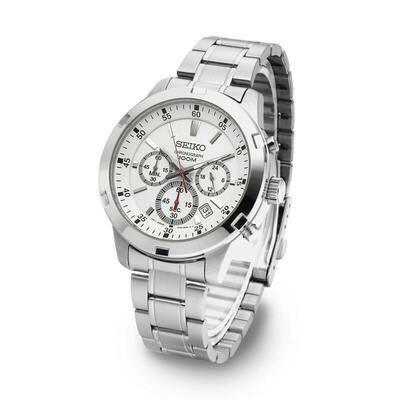 Reloj hombre Seiko Neosports SKS601P1 dial blanco 43mm correa acero 100 water resist