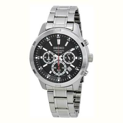 Reloj hombre Seiko Neosports Chrono SKS605P1 dial negro 43mm correa acero 100 water resist