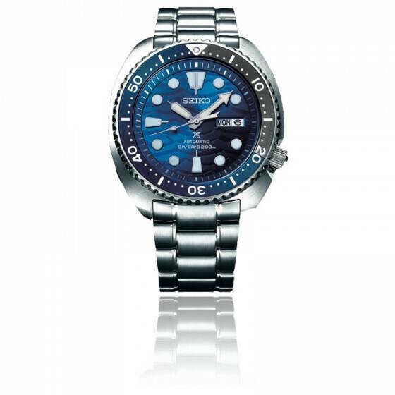 Reloj Automático hombre Seiko Prospex SRPD21K1 Turtle White Shark Save the Ocean dial azul 45mm correa acero 200m water resist