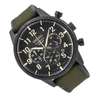 Reloj hombre deportivo Seiko Neosports SSB369P1 Chrono dial negro 45.2mm correa goma
