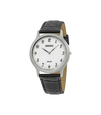 Reloj SOLAR hombre Seiko Solar SUP863P1 dial blanco 37.8mm correa cuero