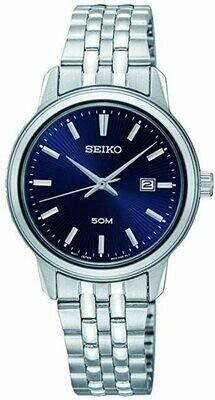 Reloj mujer Seiko SUR665P1 dial azul 30mm correa acero cuarzo