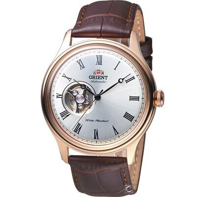 Reloj Automático hombre Orient Envoy FAG00001S correa cuero dial plata 43mm 50m WR Open Heart