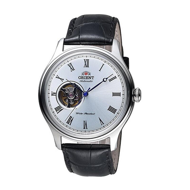 Reloj Automático hombre Orient Envoy FAG00003W dial plata 43mm correa cuero CUERDA MANUAL Hand-Hacking 50m WR Open Heart