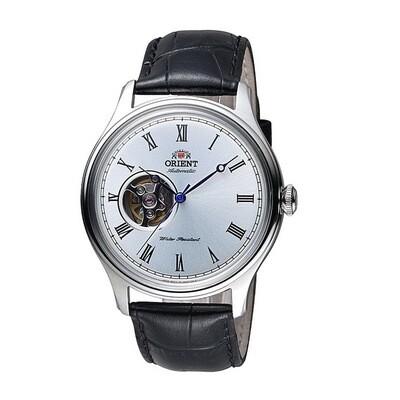 Reloj Automático hombre Orient Envoy FAG00003W dial plata 43mm correa cuero Remontable a Mano Hand-Hacking 50m WR Open Heart
