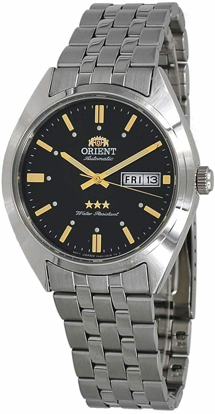 Reloj automático hombre Orient Deneb RA-AB0E06B dial negro 39mm correa acero 30m WR