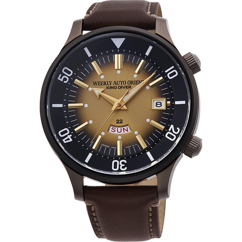 Reloj Automático hombre Orient Weekly King Diver RA-AA0D04G Limited Edition dial marrón correa cuero 200m WR
