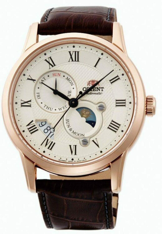 Reloj Automático hombre Orient Sun & Moon 3 FAK00001Y 42.5mm dial crema correa de cuero