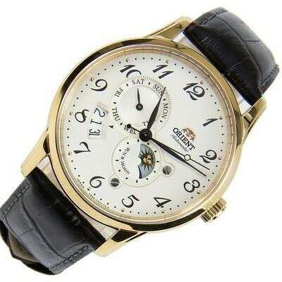 Reloj Automático hombre Orient Sun & Moon RA-AK0002S dial blanco 42.5mm Cristal Zafiro correa cuero