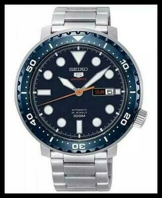 Reloj Automático hombre Seiko 5 Sports Bottle Cap SRPC63K1 dial azul 45mm correa acero 100m water resist