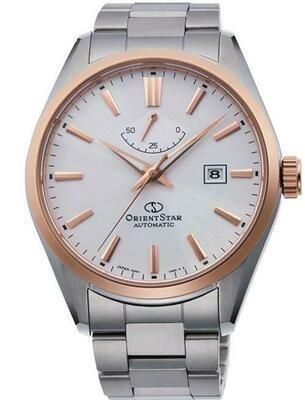 Reloj automático hombre Orient Star RE-AU0401S dial blanco bisel oro rosado Cristal Zafiro
