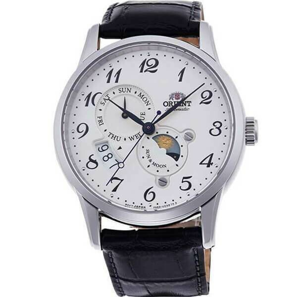 Reloj Automático hombre Orient Sun & Moon RA-AK0003S dial blanco 42.5mm Cristal Zafiro correa cuero