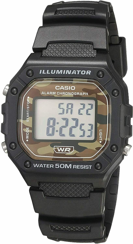 reloj hombre deportivo Casio W-218H-5BV correa resina 50m water resist - luz - alarma