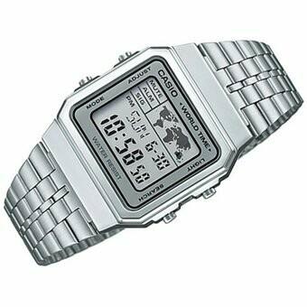 Reloj hombre mujer Casio A-500WA-7DF hora mundial plateado