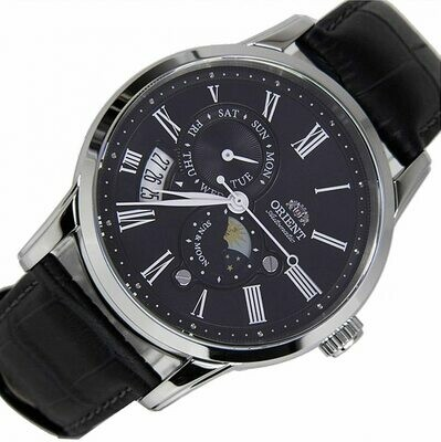 Reloj Automático hombre Orient Sun & Moon FAK00004B dial negro 42.5mm correa cuero cristal zafiro