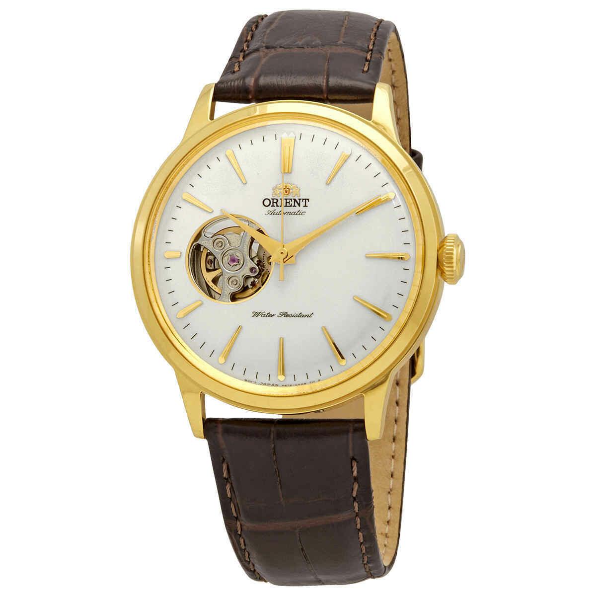 Reloj Automático hombre Orient Bambino RA-AG0003S Open Heart correa cuero oro rosa