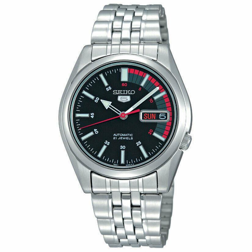 Reloj automático hombre Seiko 5 SNK375K1 Speedmaster dial negro 37mm correa acero