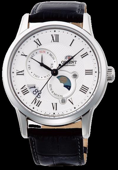 Reloj Automático Hombre Orient Sun & Moon FAK00002S dial blanco correa cuero
