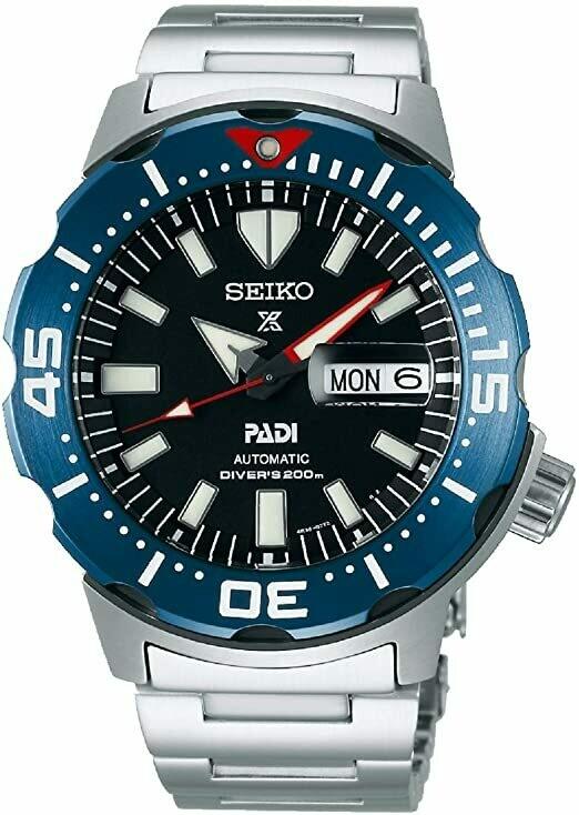 Reloj Automático hombre Seiko Prospex Monster Padi SRPE27K1 dial azul 42.4mm 200m WR correa acero Cristal Hardlex con lupa