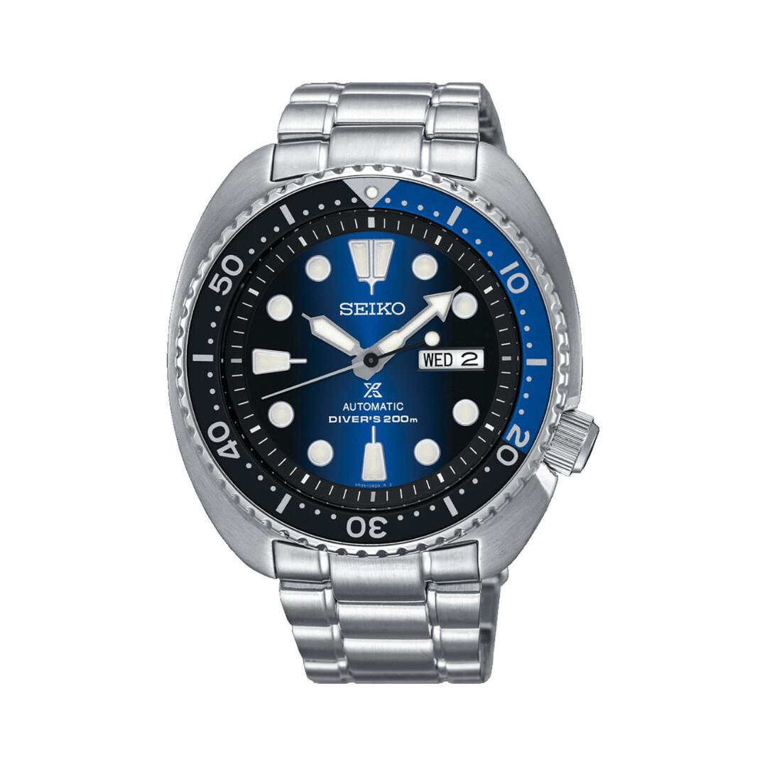 Reloj Automático buceo hombre Seiko Prospex SRPF15K1 Batman Turtle dial azul 45mm correa acero 200m water resist