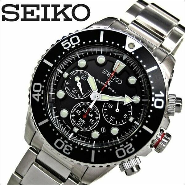 Reloj Buceo hombre Solar Seiko Solar Prospex SSC779P1 dial negro 43.5mm Lumibrite 200m WR correa acero