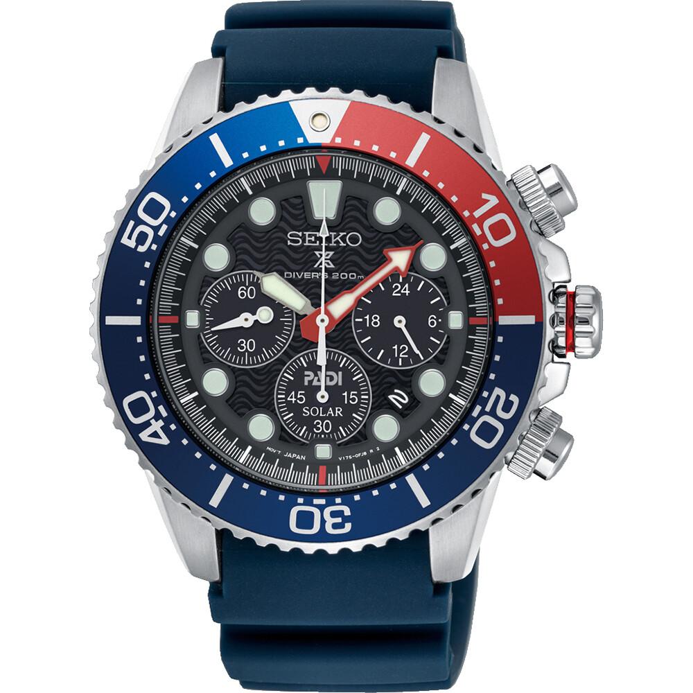 Reloj Solar hombre buceo Seiko Prospex Solar SSC785P1 dial negro 43.5mm Lumibrite 200m WR correa silicona