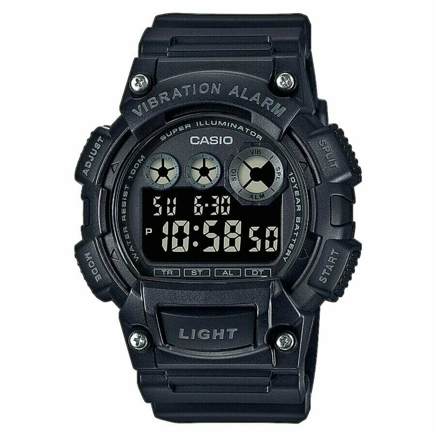 Reloj deportivo hombre Casio W735H-1B Alarma Vibración Superiluminador 10 años batería 100m Water Resist