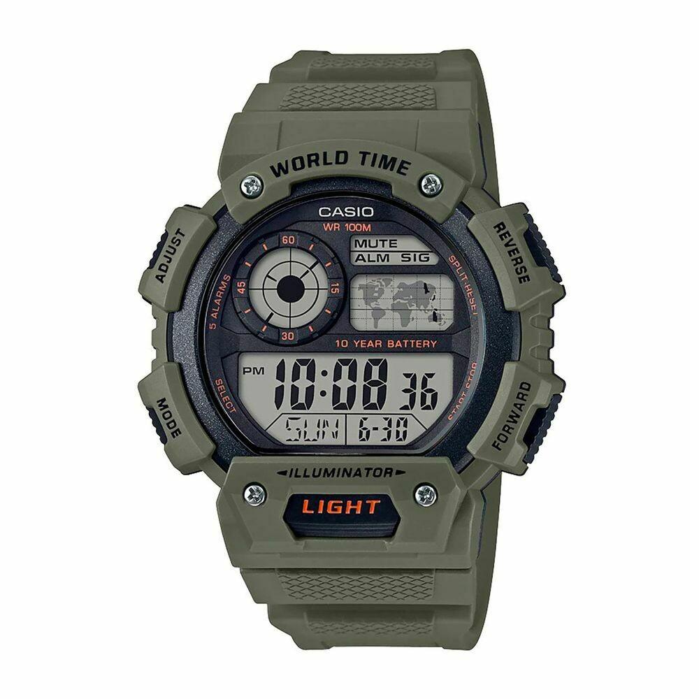 Reloj deportivo hombre Casio Watch AE-1400WH-3AV Quartz 5 Alarms hora mundial 100m Wr 10 años batería