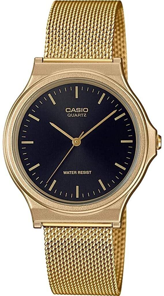 Reloj unisex vintage Casio MQ-24MG-1E dial negro correa dorada milanesa