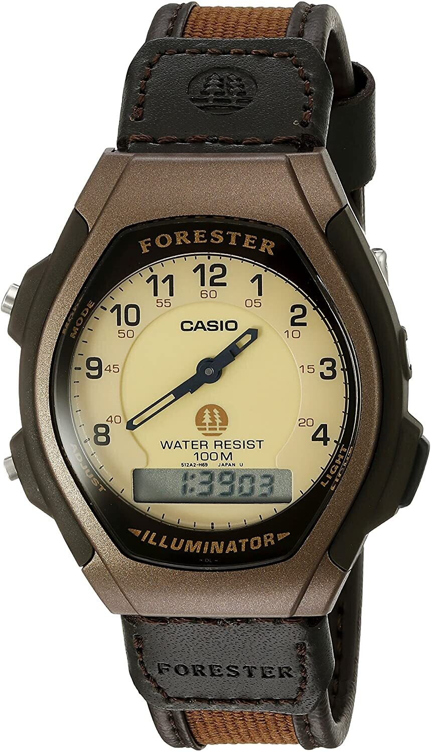 reloj hombre Casio Forester FT-600WB-5B hora dual luz led 100m water resist