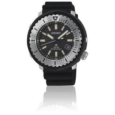 Reloj Automático Solar Seiko Prospex SNE541P1 Solar Street Tuna dial 46,7mm negro 200m Water Resist Lumibrite correa silicona