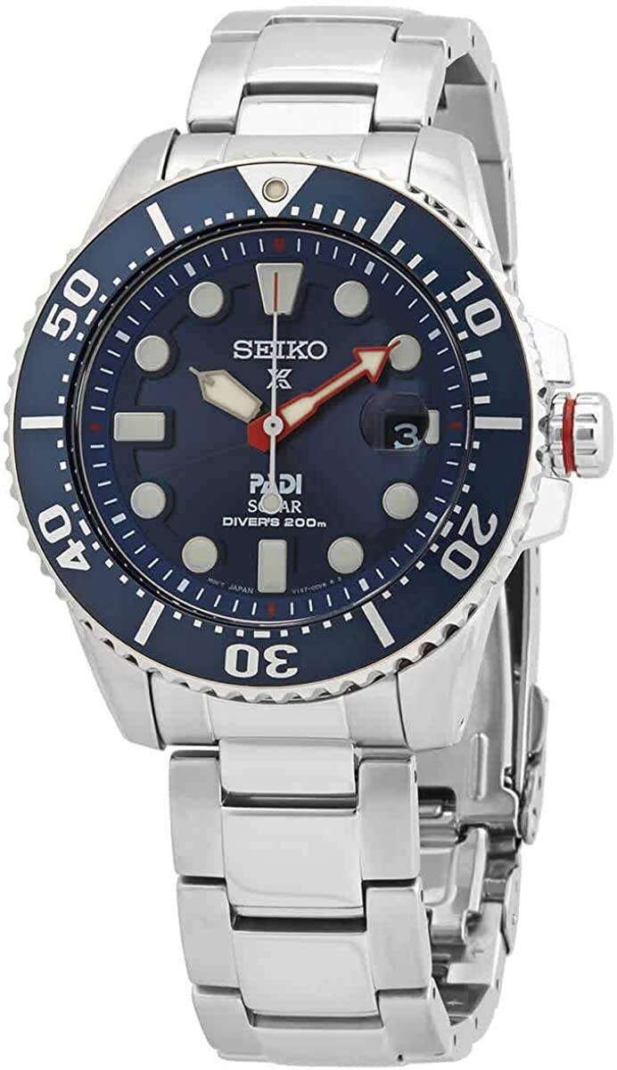 Reloj Automático Solar Seiko Solar SNE549P1 Padi dial azul 43.5mm 200m water resist correa acero