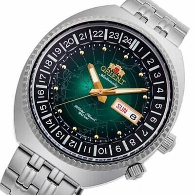 Reloj automático hombre Orient Revival World Map Automatic RA-AA0E02E dial verde 43.5mm correa acero 200m water resist
