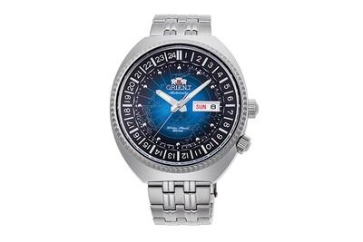 Reloj automático hombre Orient Revival World Map Automatic RA-AA0E03L dial azul 43.5mm correa acero 200m water resist