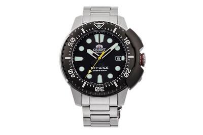 reloj automático hombre buceo Orient M-Force RA-AC0L01B dial negro 45mm correa acero 200m water resist