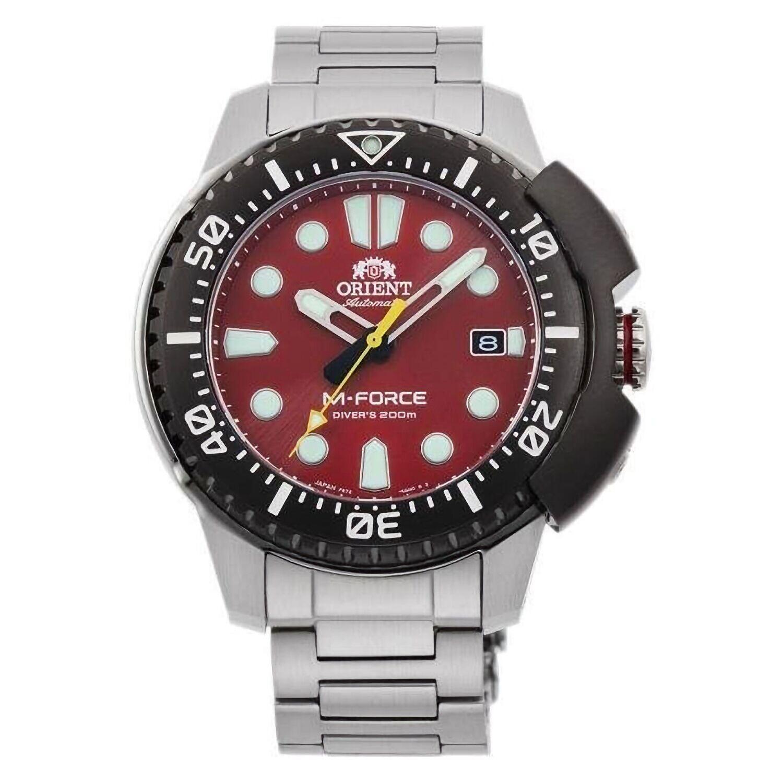 reloj automático hombre buceo Orient M-Force RA-AC0L02R dial rojo 45mm correa acero 200m water resist
