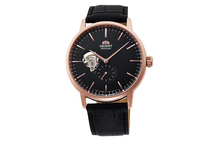 Reloj automático hombre Orient RA-AR0103B Open Heart correa cuero dial negro 40mm (permite cuerda manual)