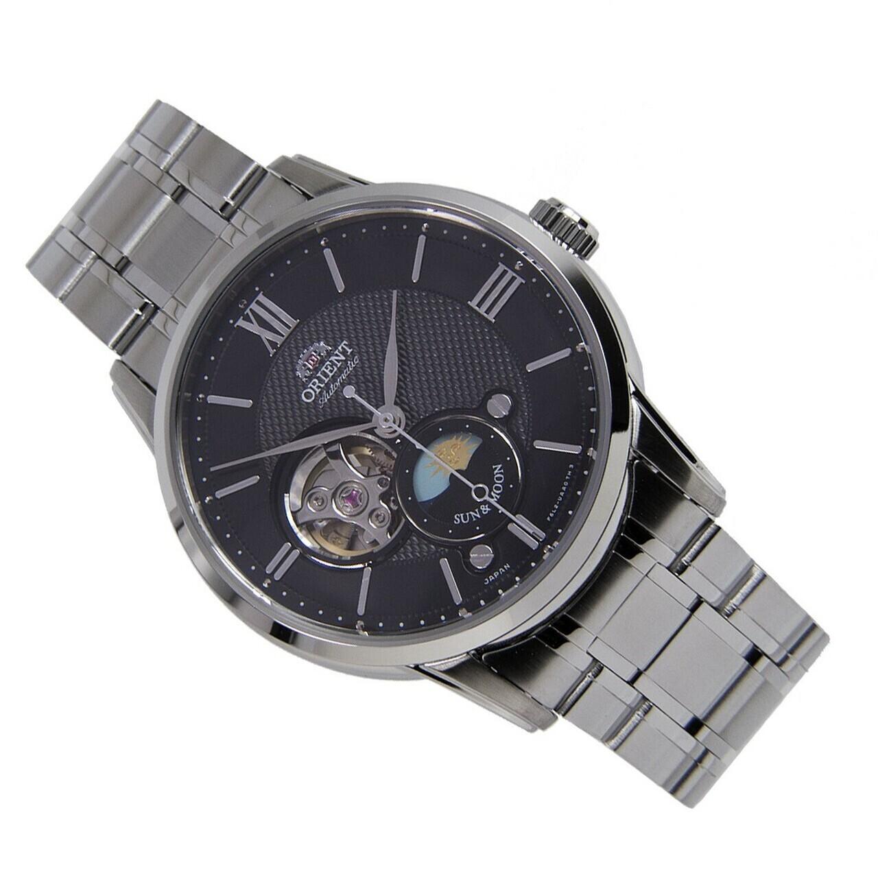 reloj automático hombre Orient Sun & Moon RA-AS0002B Open Heart dial negro 42mm correa acero