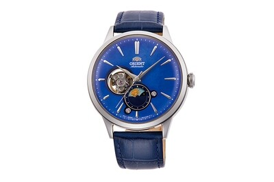 Reloj automático hombre Orient Sun & Moon RA-AS0103A dial azul 41.5mm correa cuero