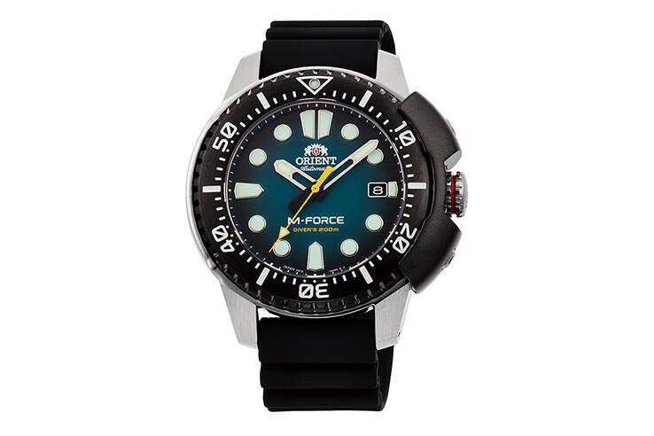 reloj automático buceo hombre Orient M-Force RA-AC0L04L dial azul 45mm correa goma 200m Water resist