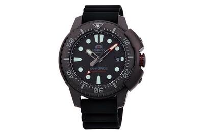 reloj automático hombre buceo Orient M-Force RA-AC0L03B baño de iones ion-plate dial NEGRO 45mm correa goma 200m water resist